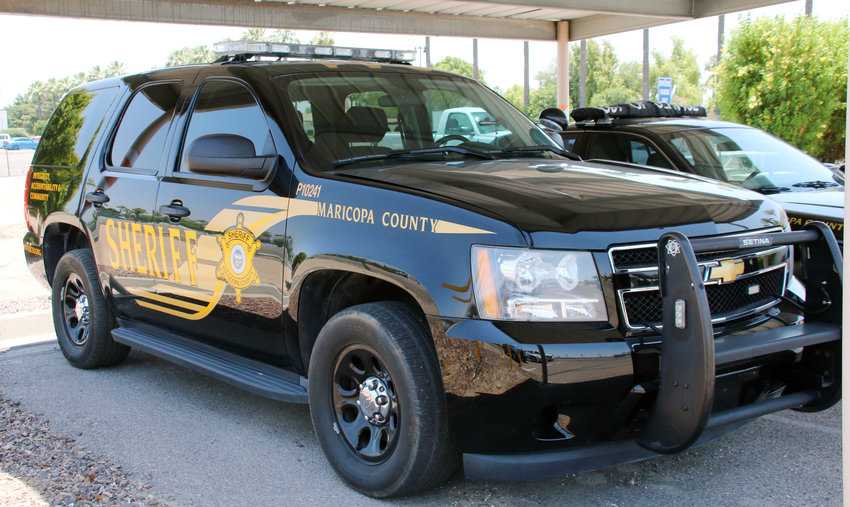 Litchfield Park's existing Chevrolet Tahoe police vehicle, seen here at City Hall, will undergo a cosmetic change from Maricopa County Sheriff to Litchfield Park Avondale Police. Its three new vehicles also will feature the new logo.