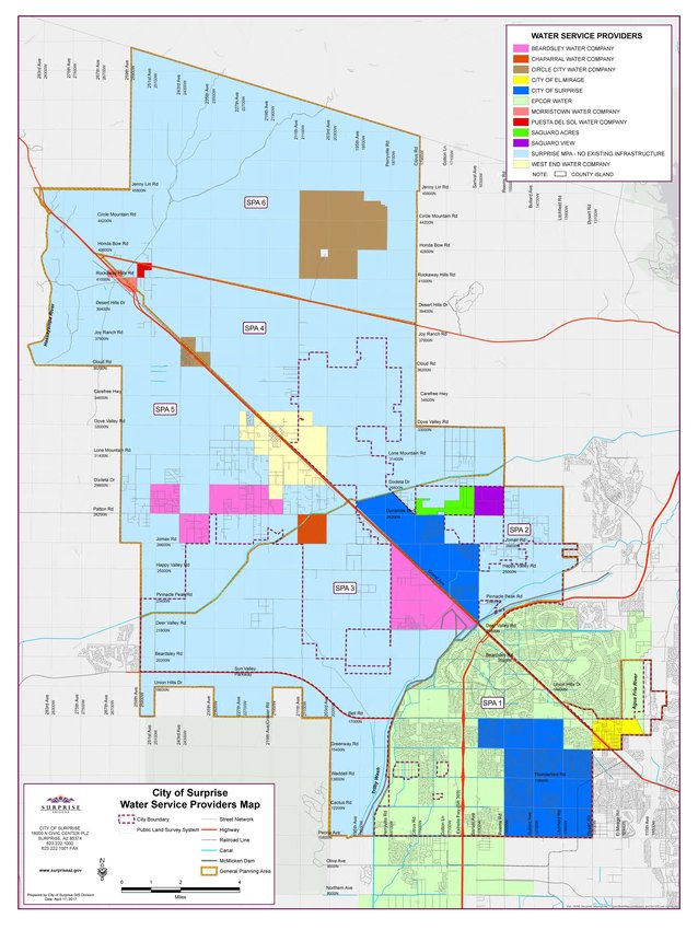 Surprise provided this map of all the water providers in its planning area.