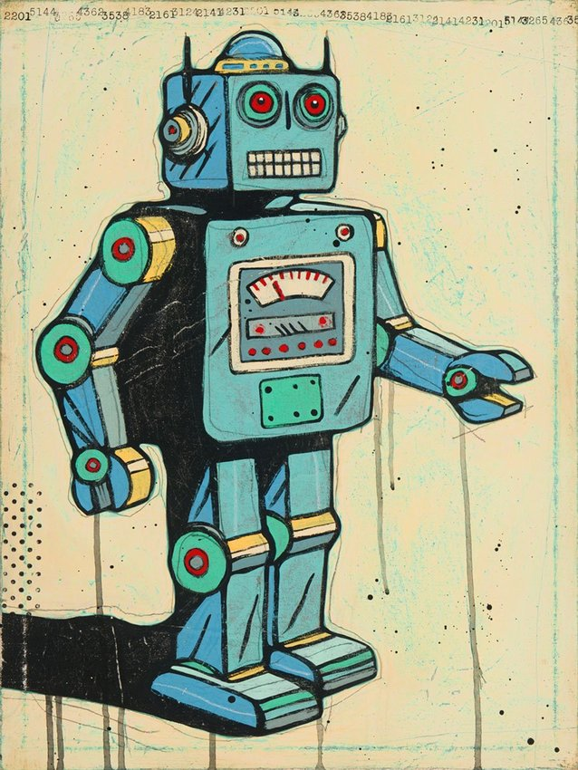 """""""Robots Have Anxiety Too,"""" by Joel Ganucheau. can be seen at the i.d.e.a. Museum."""