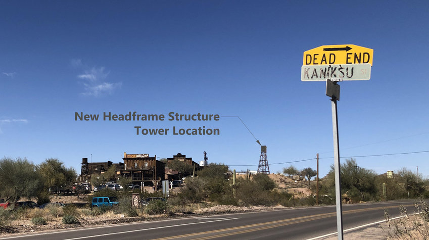 The site of the mine headframe is shown on a photo/graphic.