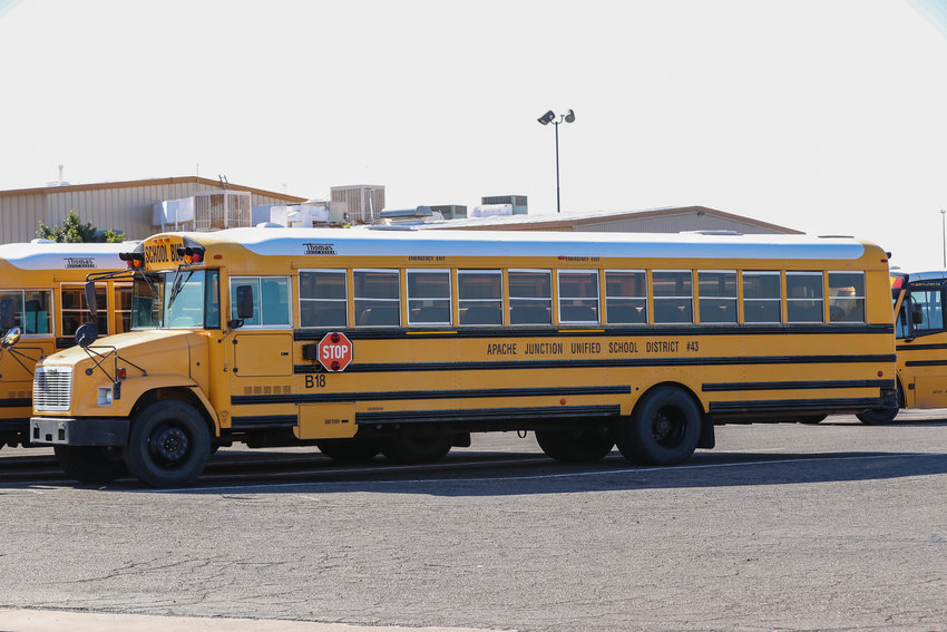 The 2004 Apache Junction Unified School District bus B18 was purchased Oct. 23, 2003, has 194,576 miles on it and has been used for 10,833 hours, according to a district document.