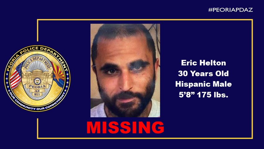 Peoria Police seek the public's help in locating, Eric Helton, a 30-year-old male. Please call, 623-773-8311.
