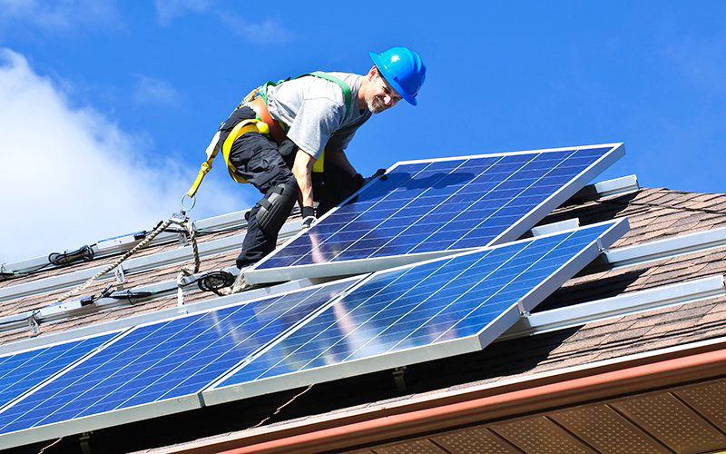 The city of Phoenix is drafting a plan to reduce greenhouse gas emissions in the city by two-thirds by 2030 and reach zero greenhouse gas emissions and zero waste by 2050. One key source of renewable energy will be from solar panels, which are encouraged on nearly all rooftops under the plan. [Elena Elisseeva/Creative Commons]