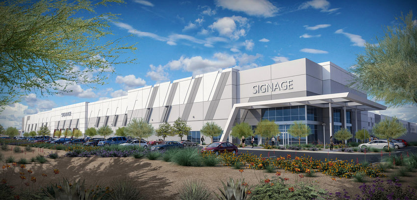 An artist's rendering shows Latitude 303 Logistics, which will be completed in early 2022 in Glendale.