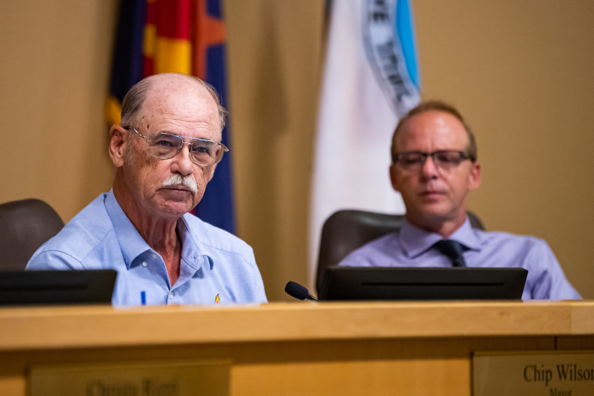From left are Apache Junction Mayor Chip Wilson and Council member Robert Schroeder at a recent meeting.