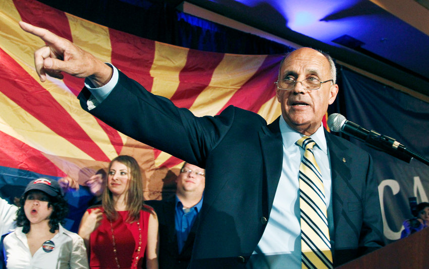 Democratic Senate candidate Richard Carmona gives his concession to Republican Jeff Flake at a Democratic Party gathering in Tucson in 2012. Facing a slowing rate of Arizonans getting vaccinated, Gov. Doug Ducey on Thursday tapped Carmona, former U.S. Surgeon General, to be his new senior health advisor on COVID matters.