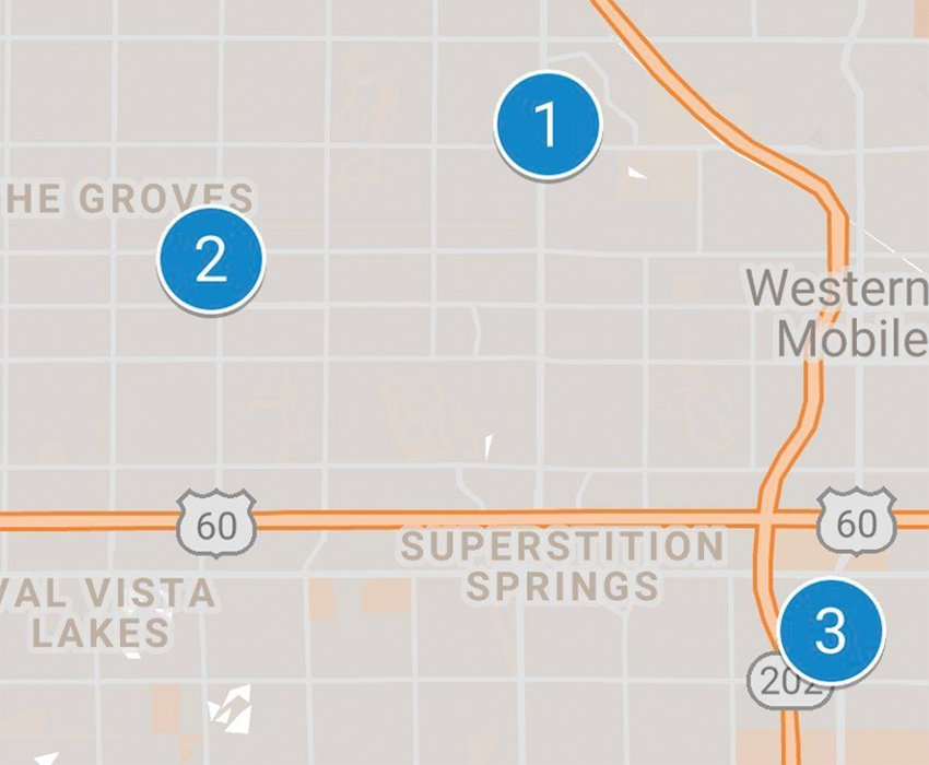 Locations of the Superstition Patrol Division, 2430 S. Ellsworth Road, shown as No 3; the Red Mountain Police Division, 4333 E. University Drive, No. 2; and the proposed Northeast Public Safety Facility, just north of Power and Brown roads, on the east side of Power, No. 1.