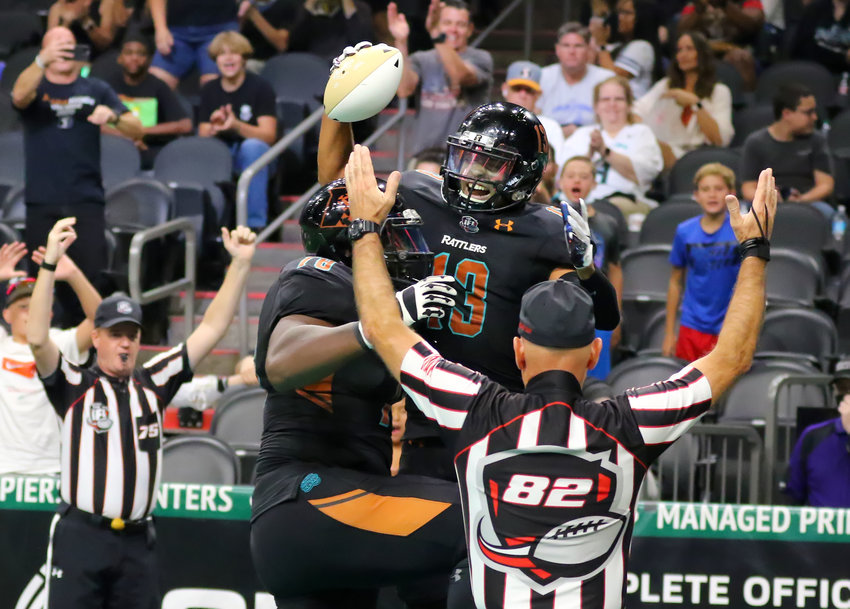Arizona Rattlers wideout Braxton Haley (13) celebrates a second-quarter touchdown on Sunday against the Sioux Falls Storm. Top-seeded Arizona won 69-42 to advance in the IFL playoffs. [Matt Hinshaw/Arizona Rattlers]