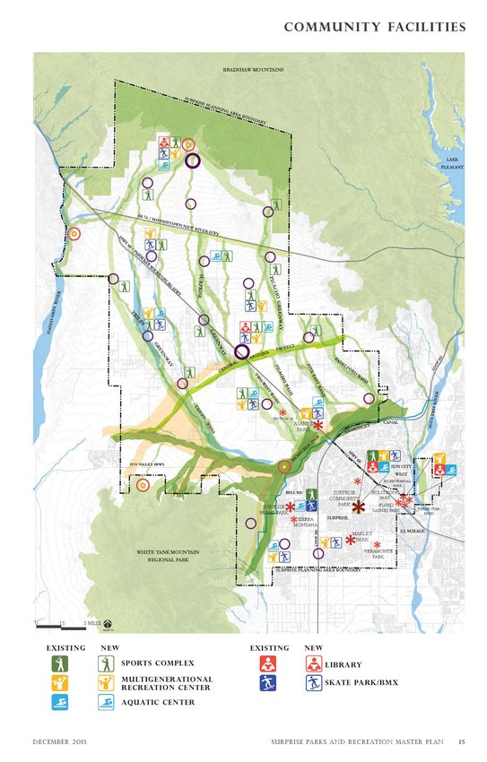 This map in the 2015 Surprise Parks Master Plan projects future parks and recreation needs in the city's vast planning area.