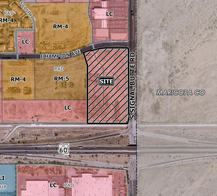 A commercial development is planned within the south side of the 10700 block of East Hampton Avenue and within the west side of the 1400 to 1600 block of South Signal Butte Road.