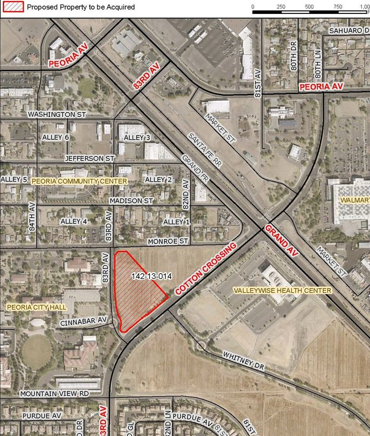 The Peoria City Council approved the purchase of 3.93 acres of land located near 83rd Avenue and Cotton Crossing for $1.4 million. The parcel is outlined in red.