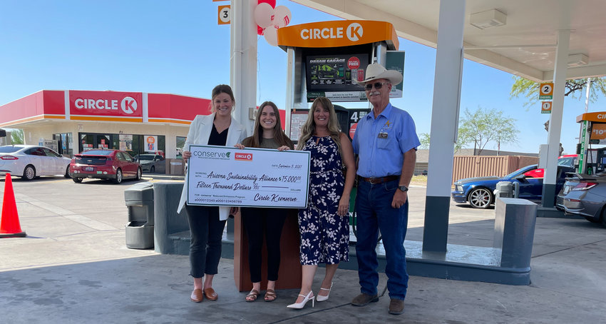 Circle K and GreenPrint presented a $15,000 check on Sept. 8 to Arizona Sustainability Alliance. From left are Hannah Warner, GreenPrint Partner Solutions manager; Julia Colbert, AZSA programs director; Billie Anderson, Circle K regional director; and Apache Junction Mayor Chip Wilson.
