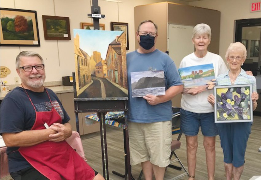 Dave Coutts, seated, with some of his acrylics students in the Kuentz Art Studio: Dave Blackman, Bette Franke and Pat Cramer. [Submitted photo]