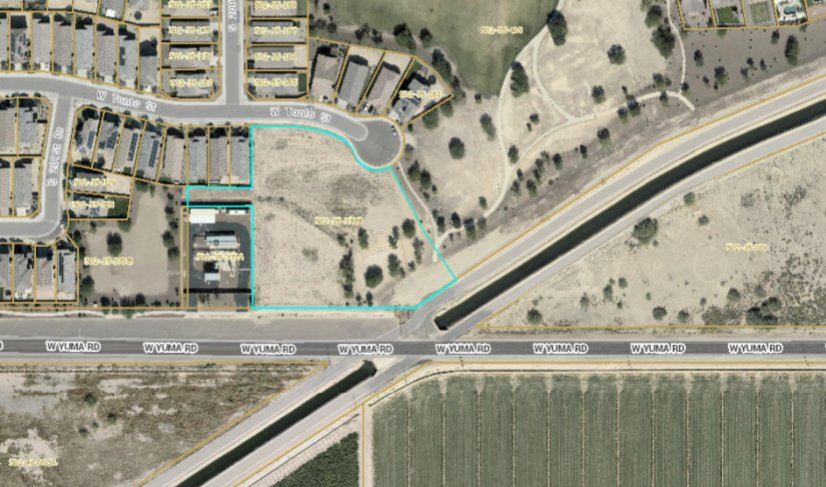 Construction of a fire station, to be located at the site shown in this satellite image of the Blue Horizons planned development, is one of the items on the consent agenda for Tuesday night's Buckeye City Council meeting.