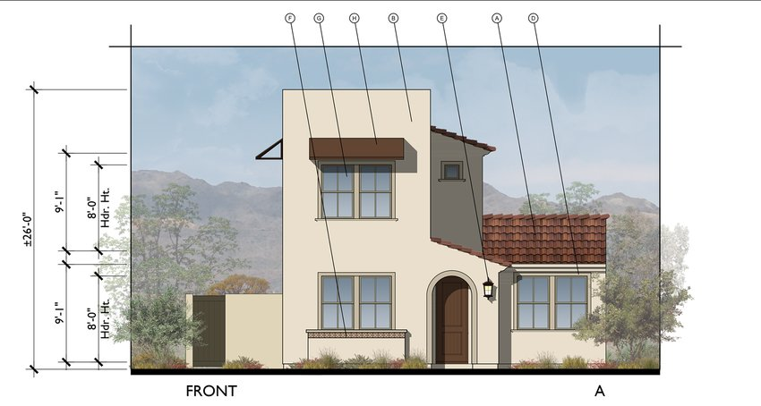 A contemporary Spanish elevation at The Havenly Superstition subdivision.
