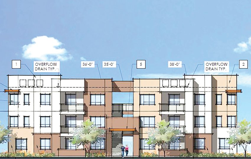 This is a rendering for one of the nine buildings in a 216-unit apartment complex proposed for downtown Buckeye. The city's Planning and Zoning Commission approved the complex site plan at Tuesday's meeting.