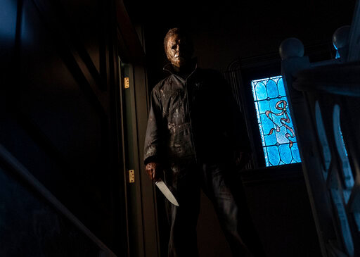 """This image released by Universal Pictures shows the character Michael Myers in """"Halloween Kills,"""" directed by David Gordon Green. (Ryan Green/Universal Pictures via AP)"""