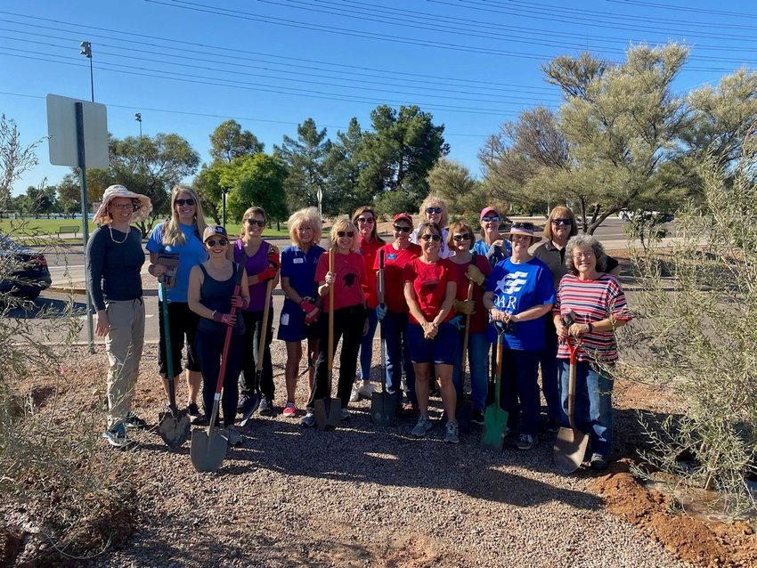 DAR Chapter Regent, Karen Andrews and Day of Service Chairman,  Jessie Wicks  along with 15 members recently participated in the Grand Canyon Chapter DAR Day of Service in Chaparral Park.