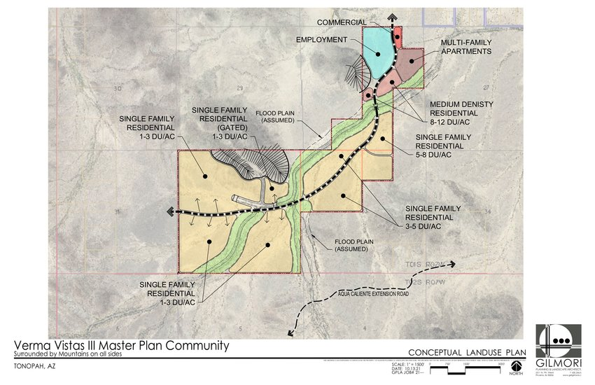 A map depicts the location and plans for Verma Vistas III in western Maricopa County.