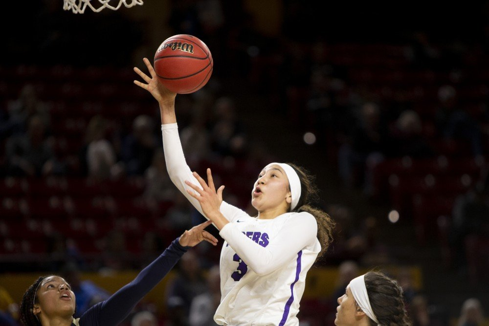 Millennium junior forward Ali Zelaya attempts a layup against Casteel on Feb. 18, 2019 during a 5A girls basketball semifinal at Wells Fargo Arena in Tempe. Zelaya signed to play with North Carolina in November.