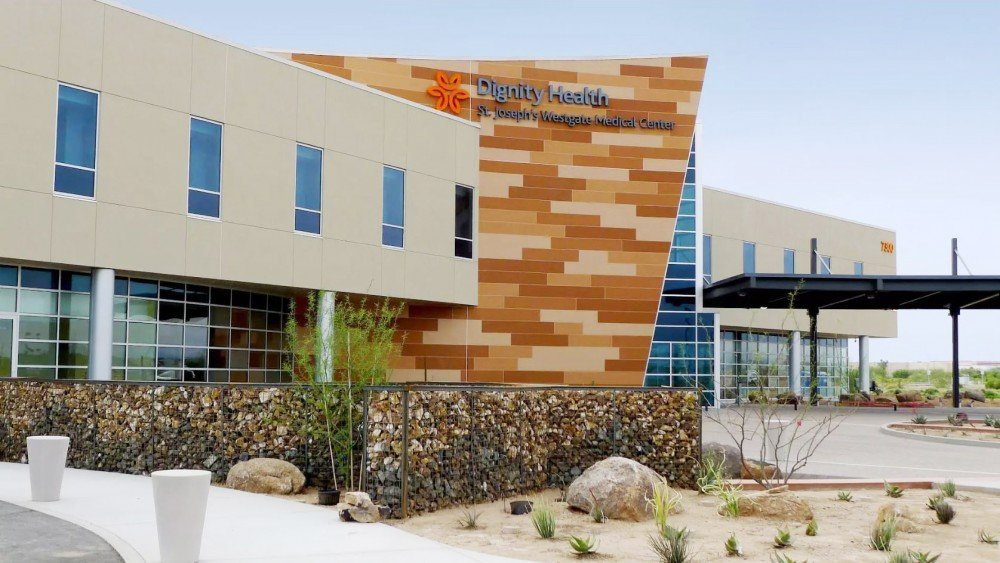 The outside of Dignity Health St. Joseph's Westgate Medical Center in Glendale.