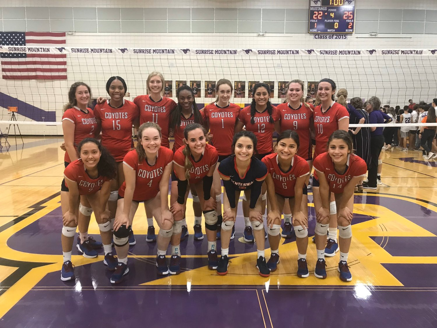 The Centennial girls volleyball team Oct. 22 at Sunrise Mountain High School in Peoria. PUSD voters can drop off mail ballots today for a final chance to share their view on the override election. The ballots can be dropped off at Centennial High School, 14388 N. 79th Ave., Peoria, AZ 85381.