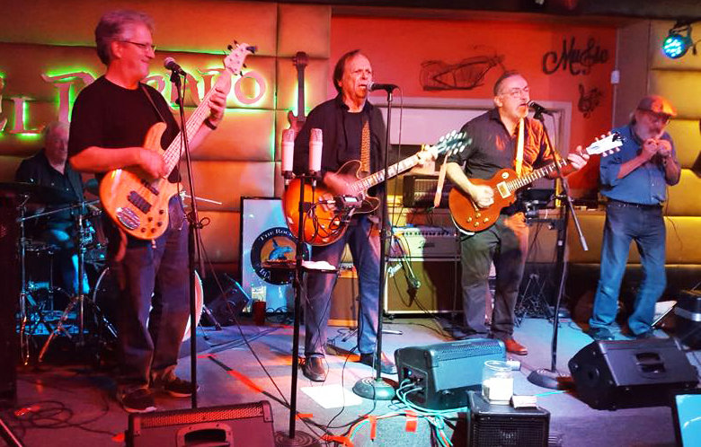 Dennis Madden, Dennis Preisler, Dan Spencer, Lee Poole and Rob Spindler as The Rockin Blue Geckos perform in Sun City Nov. 9.