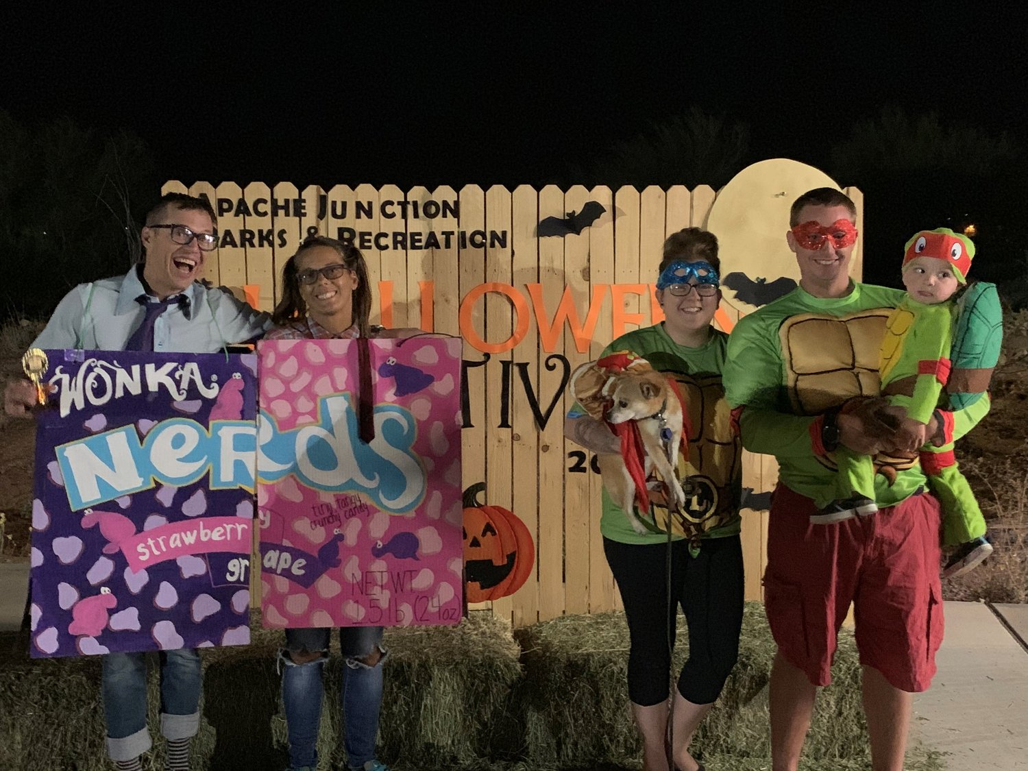 Family category winners at Apache Junction's 2019 annual Halloween festival were: first place, Erik and Jen Fish; and third place, Britany and Nich Ahmann.