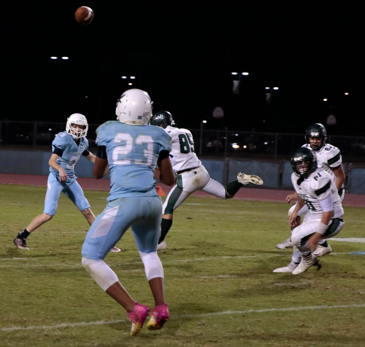 Deer Valley sophomore tailback Ashton Hill looks in a screen pass from junior Trent Green during the Skyhawks' home victory against Buckeye Youngker Nov. 1.