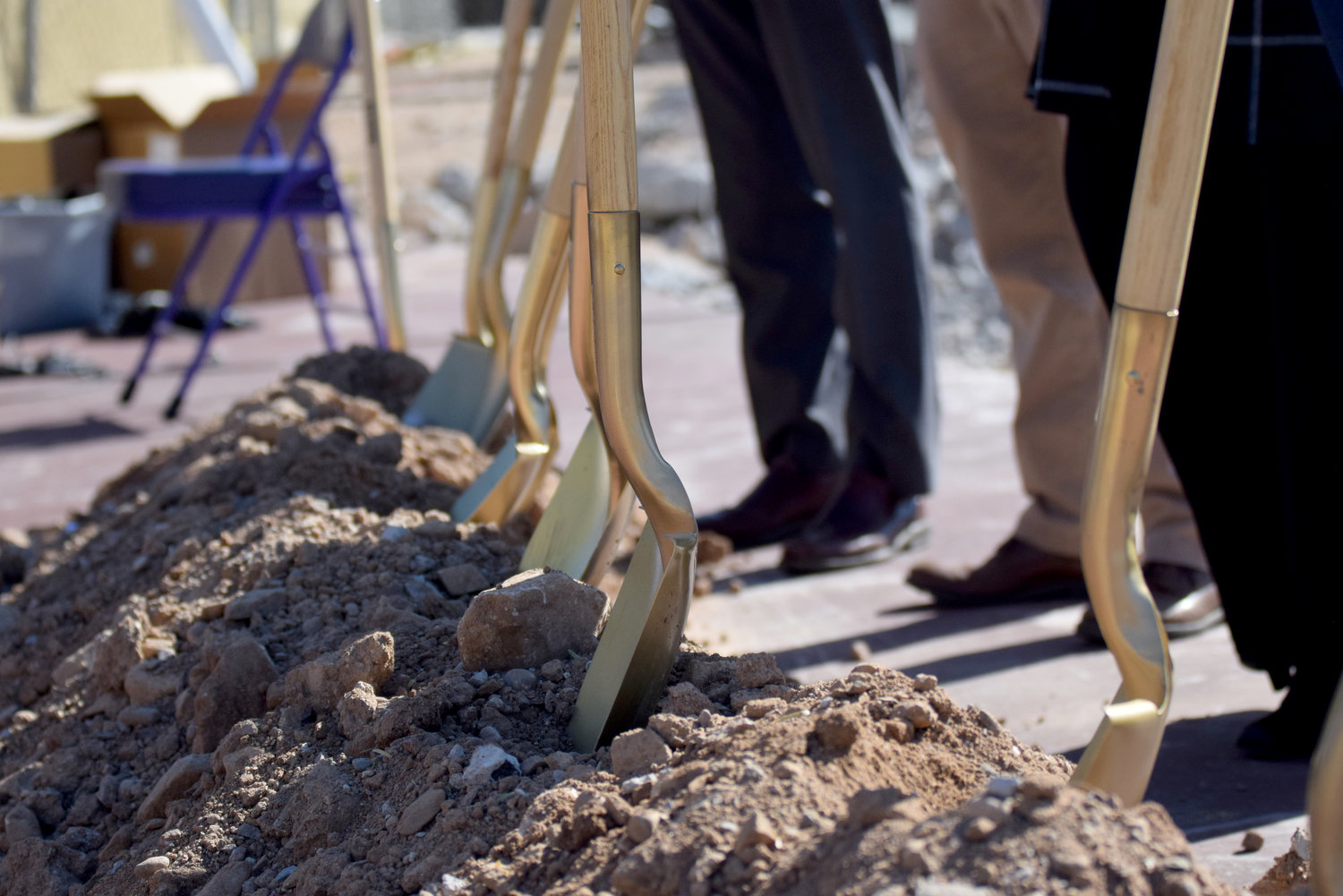 As part of the Nov. 5 groundbreaking, donors and community members used gold shovels to move dirt as part of the ceremony at NDP.