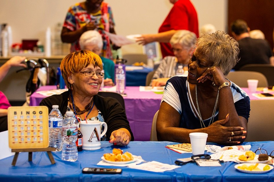Give thanks for old and new friendships formed at the senior program during the Thanksgiving celebration on Nov. 20.