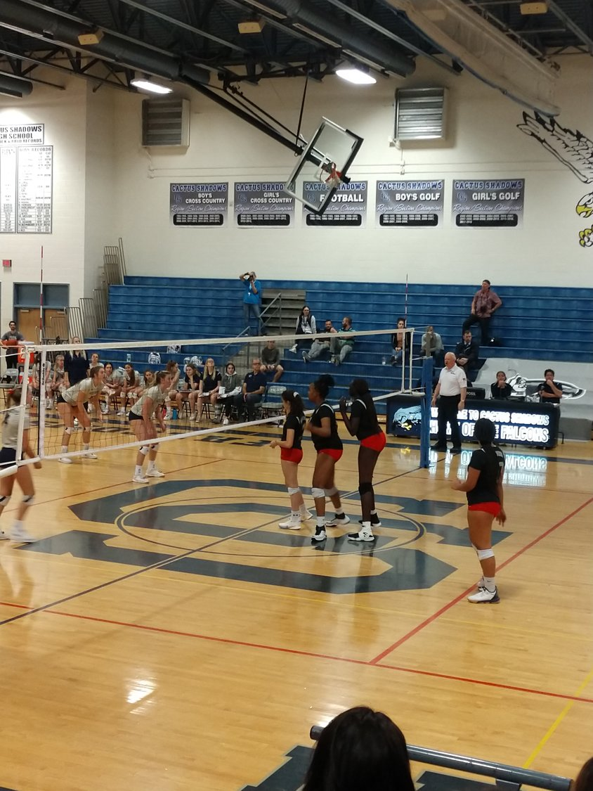 Ironwood lines up while preparing to serve to Cactus Shadows during a 5A girls volleyball playoff game Nov. 5 in Cave Creek.