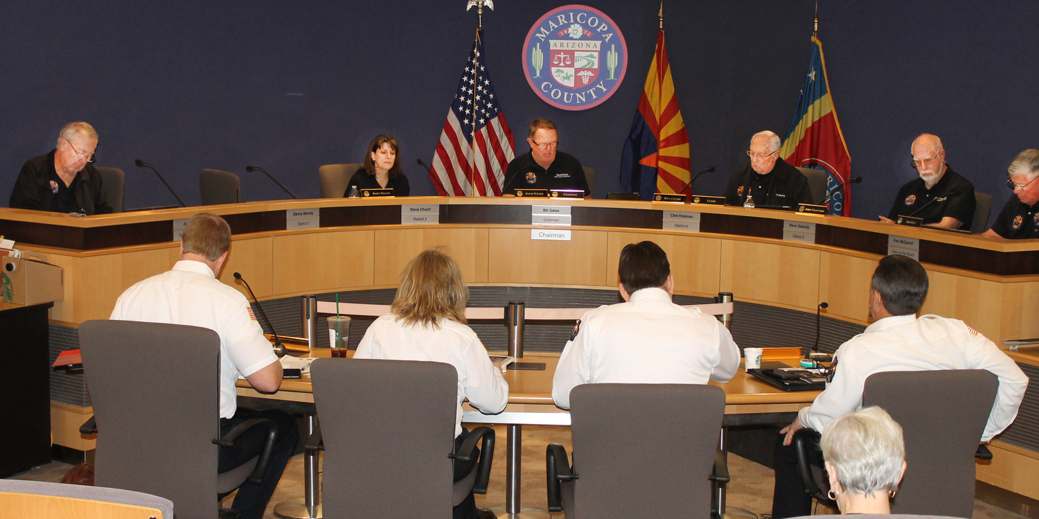 Arizona Fire & Medical Authority Governing Board meeting in Maricopa County Board of Supervisors Auditorium.