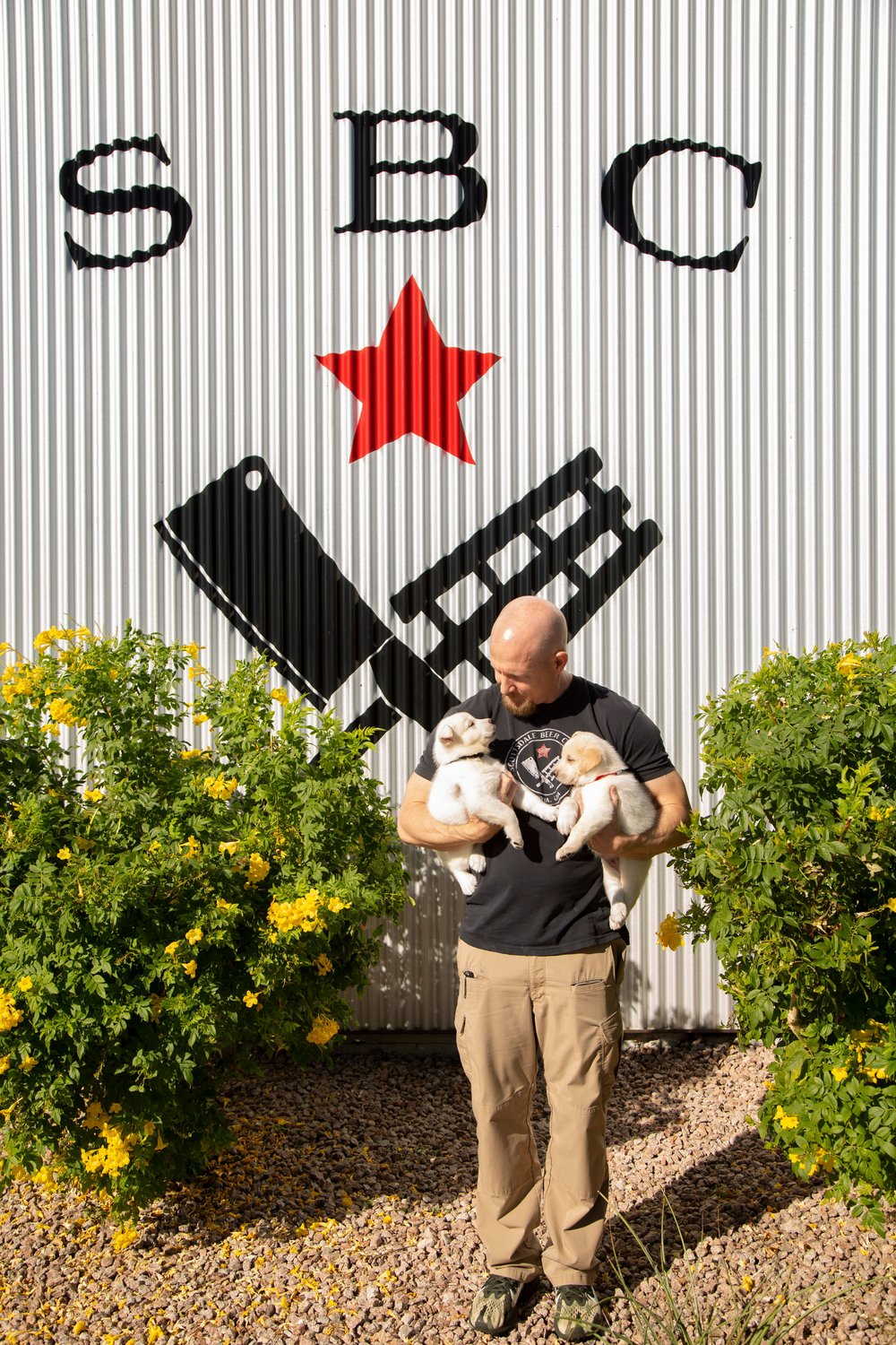 Scottsdale Beer Company owner Doug Ledger and puppies from the Arizona Humane Society.