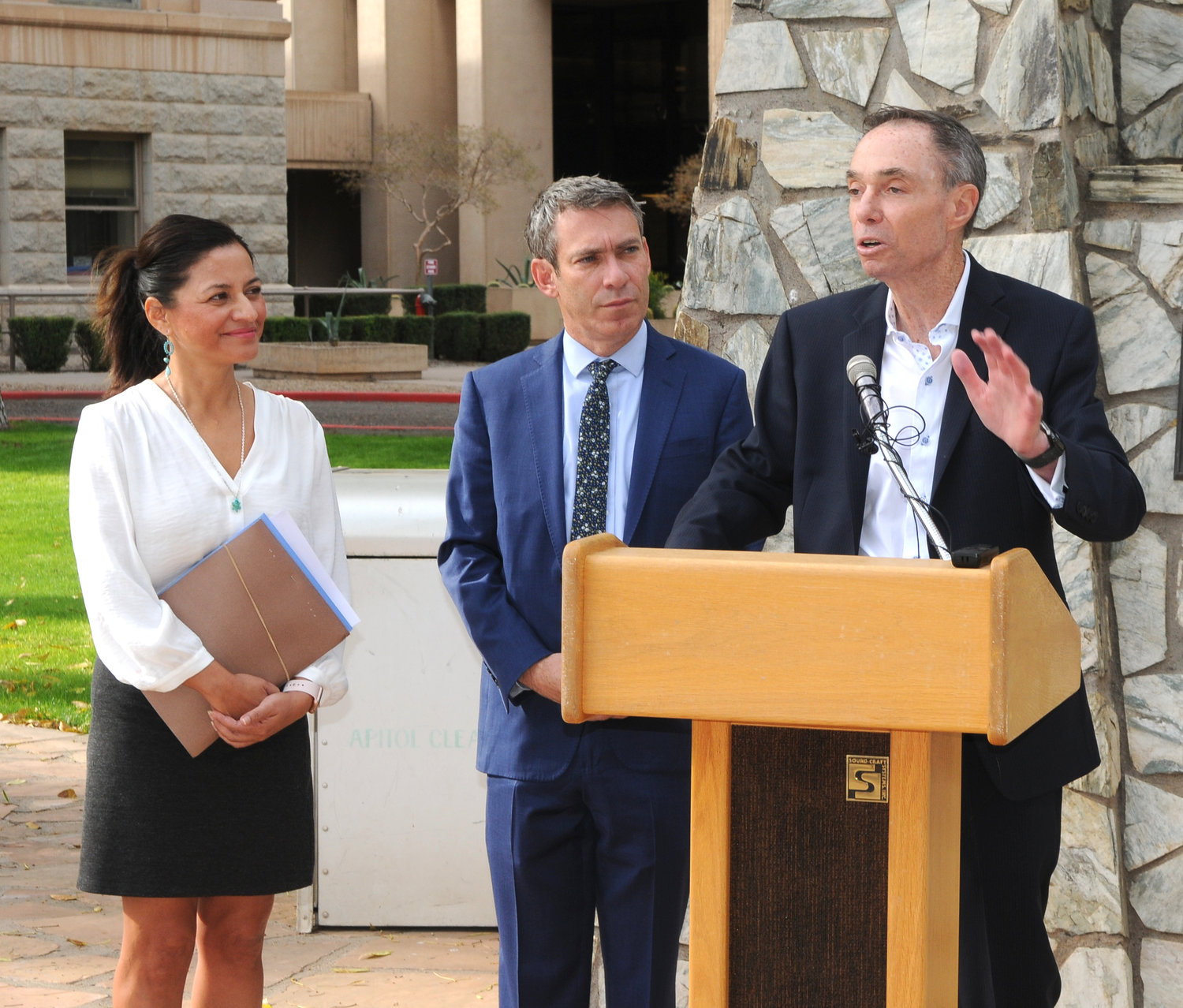 Arizona Realtor Greg Hague, at far right, is an expert voice on all things Arizona real estate. Here he leads a recent press conference with Arizona Reps. Isela Blanc and Aaron Lieberman at the Arizona capitol.