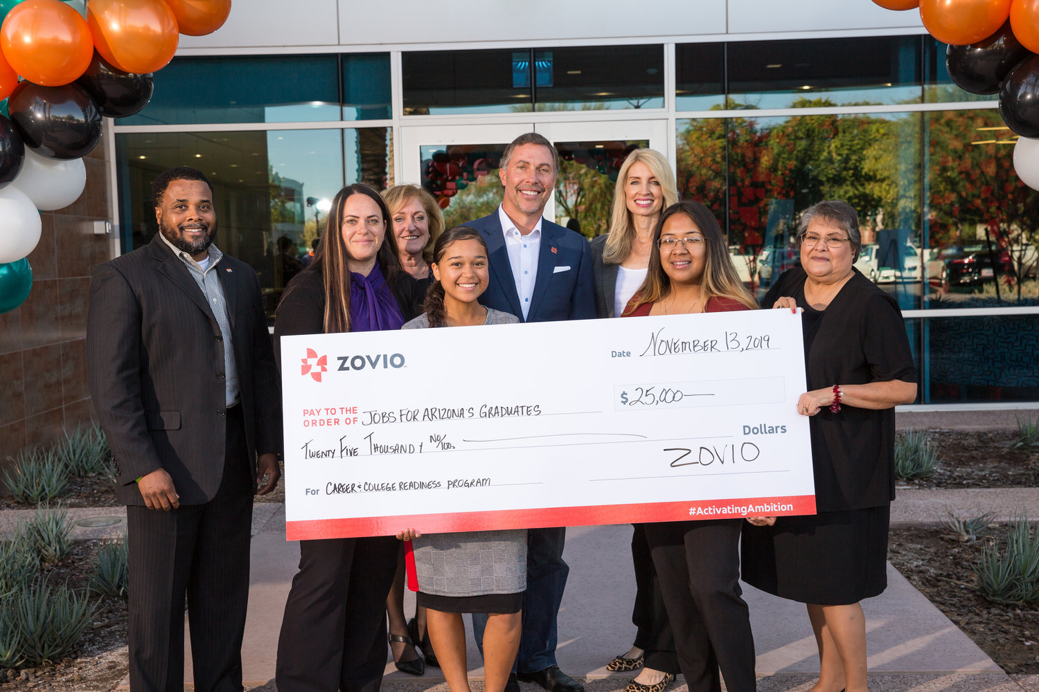 Zovio presented Jobs for Arizona's Graduates with a $25,000 grant at Zovio's ribbon-cutting ceremony at its new corporate headquarters in Chandler.