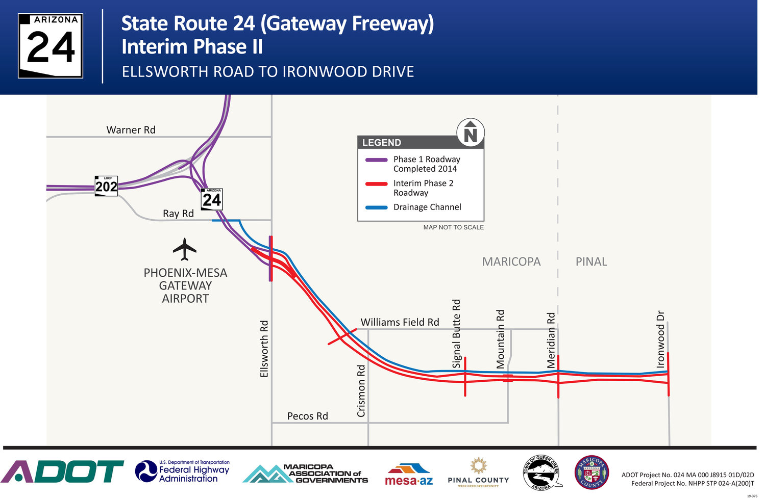 A map of the interim State Route 24 project area.