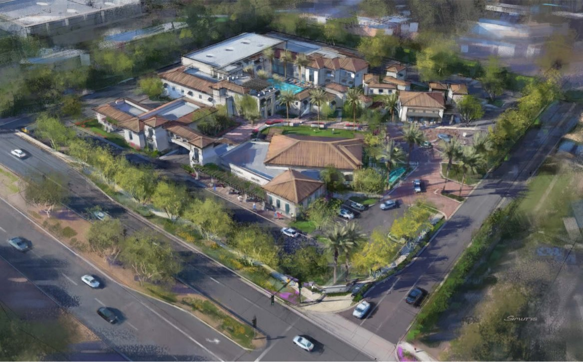 The latest in a series of re-submitted renderings to the Town of Paradise Valley for considerations of approval of a proposed redevelopment project at SmokeTree Resort.