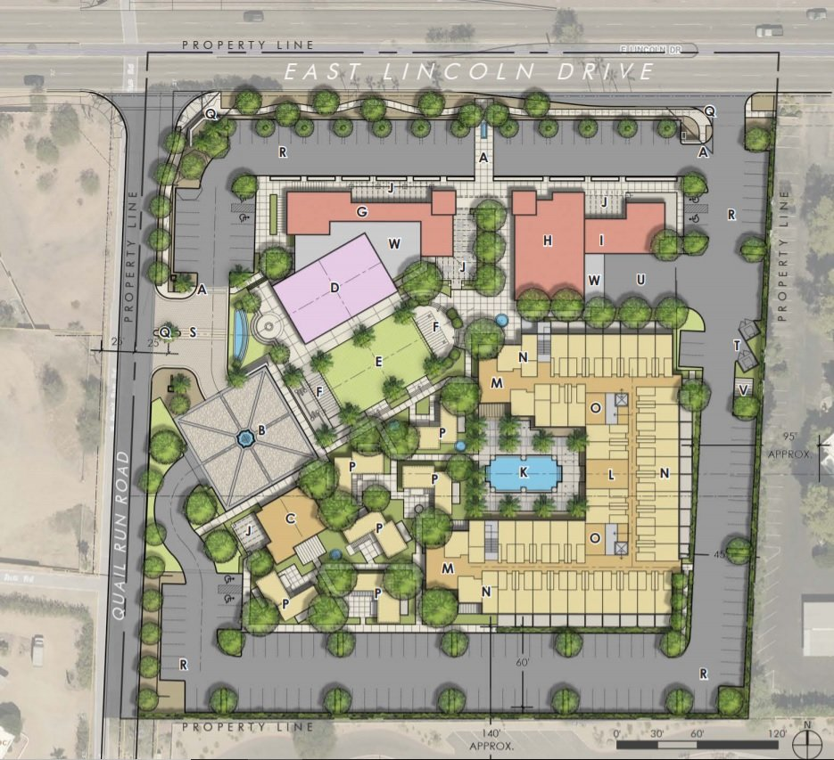 A view of the general site plan area of the proposed area of redevelopment in the Town of Paradise Valley.