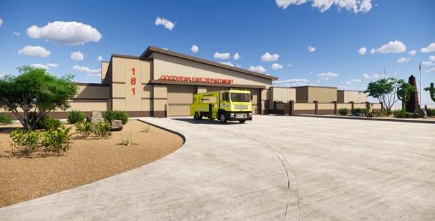 A rendering of Goodyear Fire Station 181