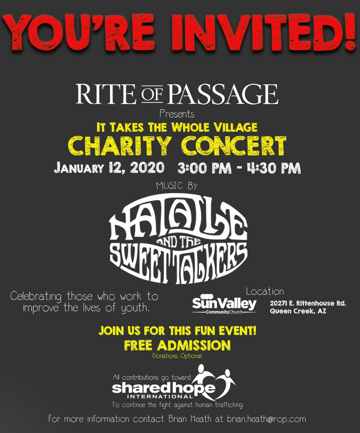 A flyer about the charity concert.