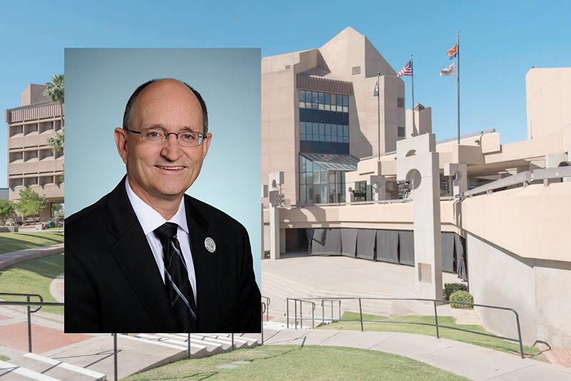 A photo of Glendale Vice Mayor Ray Malnar is displayed on top of a photo of Glendale City Hall, 5850 W. Glendale Ave. [Submitted photos]