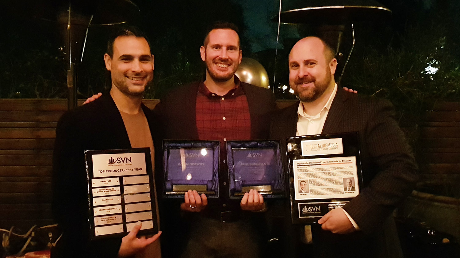 From left, Justin Horwitz, Perry Laufenberg and Paul Borgesen III are award-winning agents at SVN Desert Commercial Advisors.