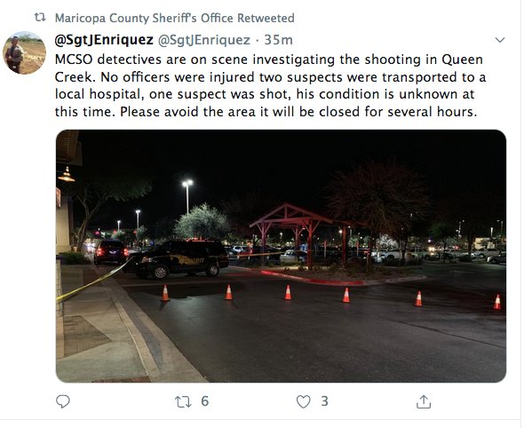 """No officers were injured. Two suspects were transported to a local hospital; one suspect was shot, his condition is unknown at this time,"" t, Sgt. J. Enriquez, Maricopa County Sheriff's Office public information officer, said in a post on Twitter @SgtJEnriquez."