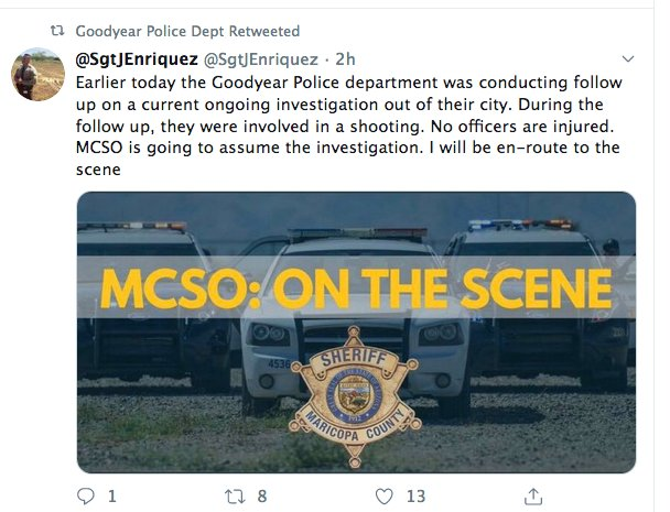 Officers involved in the shooting were from Goodyear Police Department, Sgt. J. Enriquez, Maricopa County Sheriff's Office public information officer, said in a post on Twitter @SgtJEnriquez.