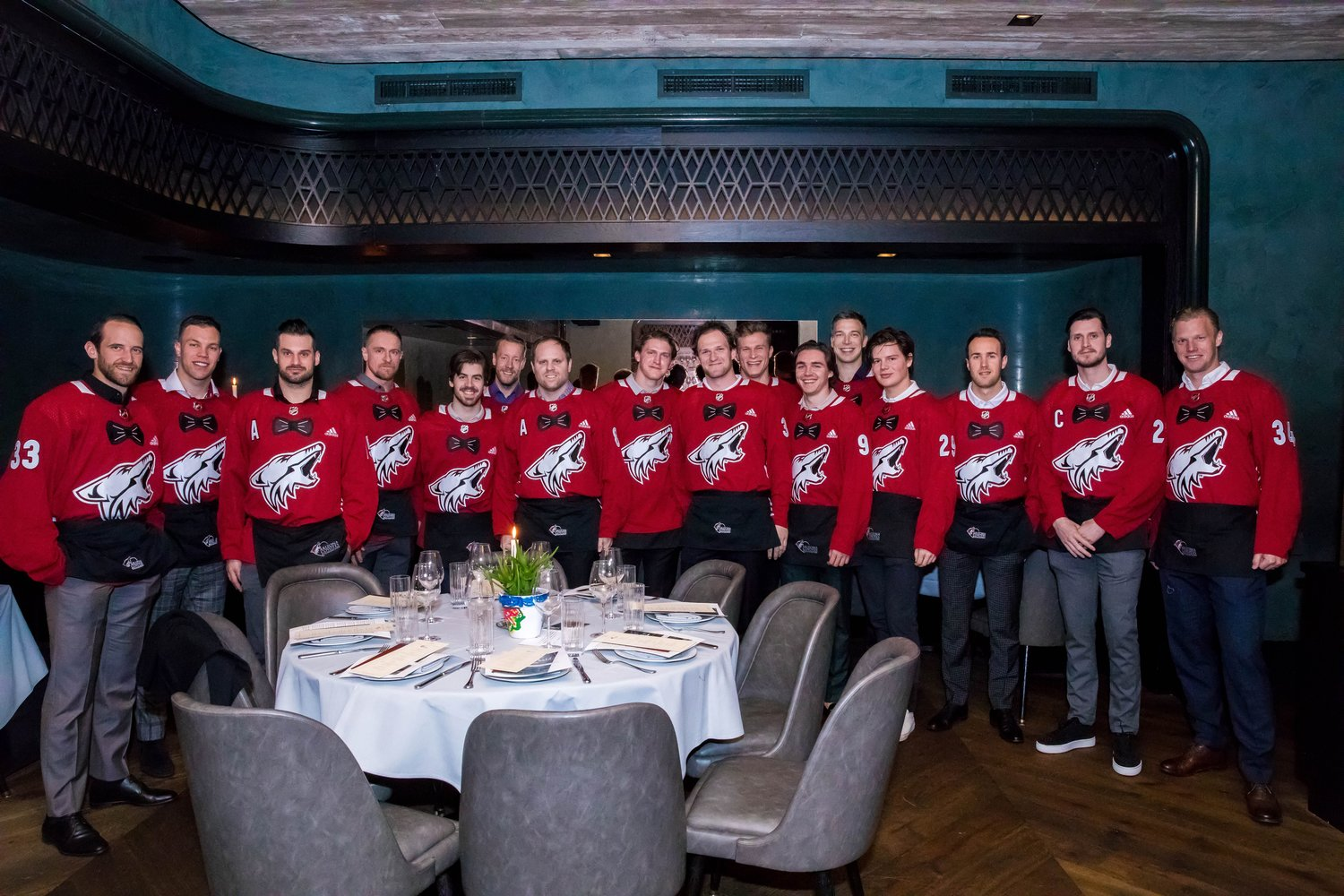 Arizona Coyotes players recently served food and wine at the team's Celebrity Waiters event.