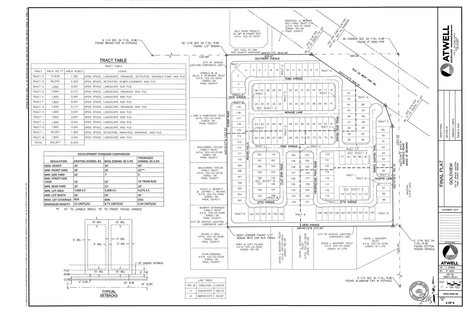 A map of the proposed 179-lot Goldview subdivision at the southwest corner of Southern Avenue and Goldfield Road.