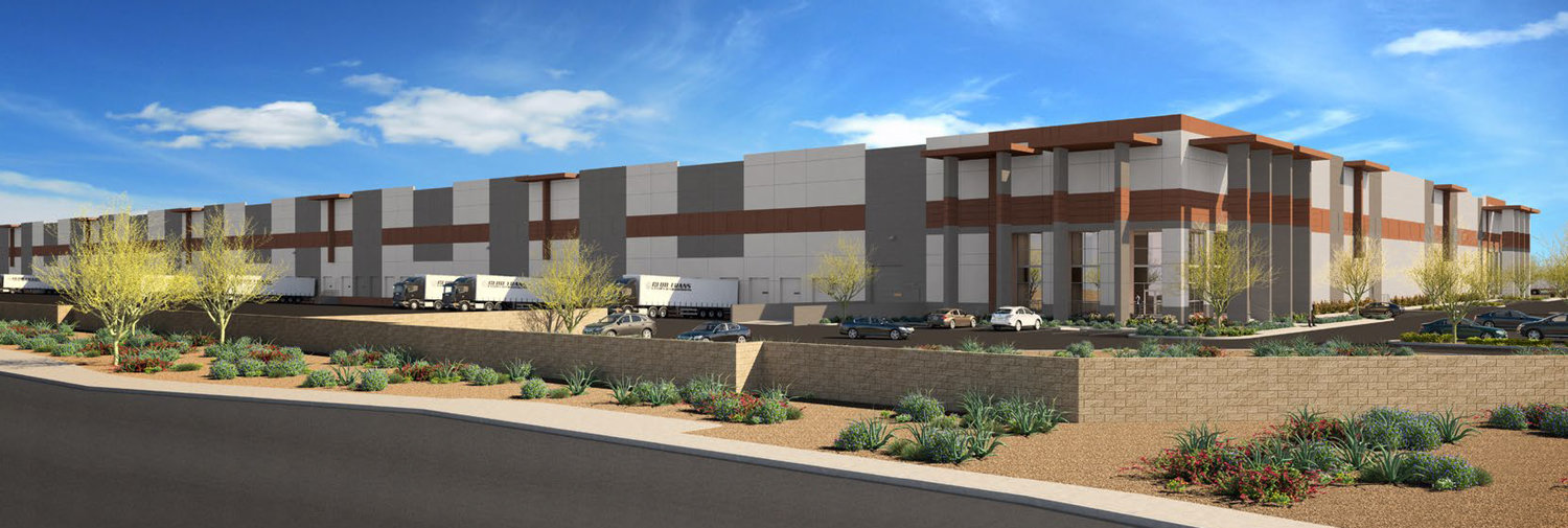 This rendering shows what the Elwood Logistics Center in Goodyear will look like at completion.