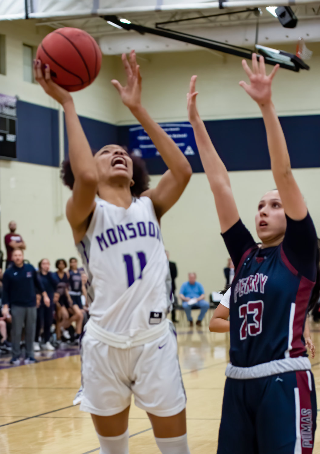 Valley Vista junior forward Marisa Davis goes up for the winning layup with three seconds left in the Monsoon's 48-47 6A girls basketball semifinal win over Gilbert Perry Feb. 26 in Surprise.