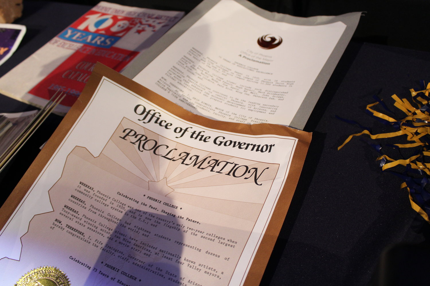 Items displayed at Phoenix College's centennial event Jan. 28, 2020 included a 1995 proclamation by then-Gov. Fife Symington.
